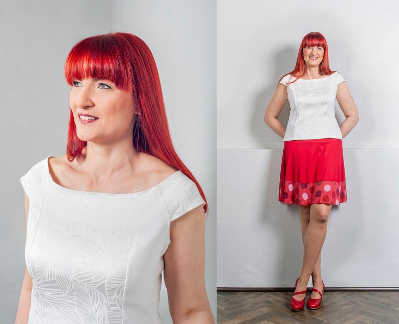 Bluse in Weiß und Rock in Rot mit Punkten aus Viskose.